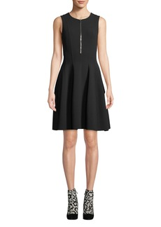 Michael Kors Collection Zip-Front Sleeveless Fit-and-Flare Stretch-Wool Crepe Dress
