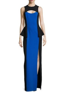 Michael Kors Colorblock Cutout Peplum Gown