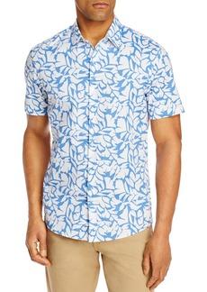 Michael Kors Cotton-Blend Leaf Print Slim Fit Shirt