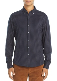 Michael Kors Cotton Geometric Printed Slim Fit Button Down Shirt