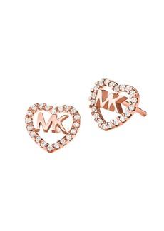 Michael Kors Crystal Heart Logo Stud Earrings