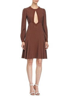 Michael Kors Dot-Print Fit-&-Flare Dress