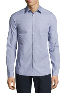 Michael Kors Dot-Print Slim-Fit Stretch Shirt
