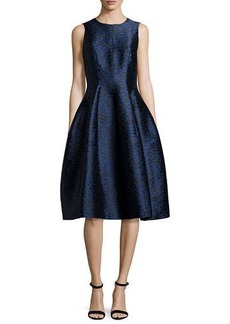 Michael Kors Dotted Jacquard Midi Bell Dress