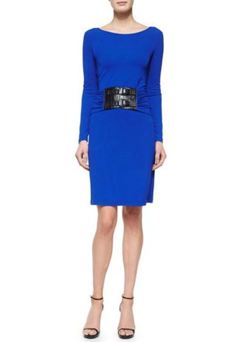 Michael Kors Drop-Waist Croc-Embossed Belted Dress