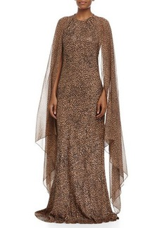 Michael Kors Embroidered Leopard-Print Bias Gown