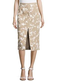 Michael Kors Embroidered Raffia Pencil Skirt w/ Slit