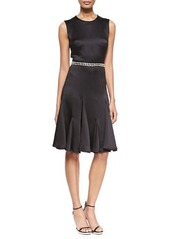 Michael Kors Embroidered-Waist Satin Fit-and-Flare Dress