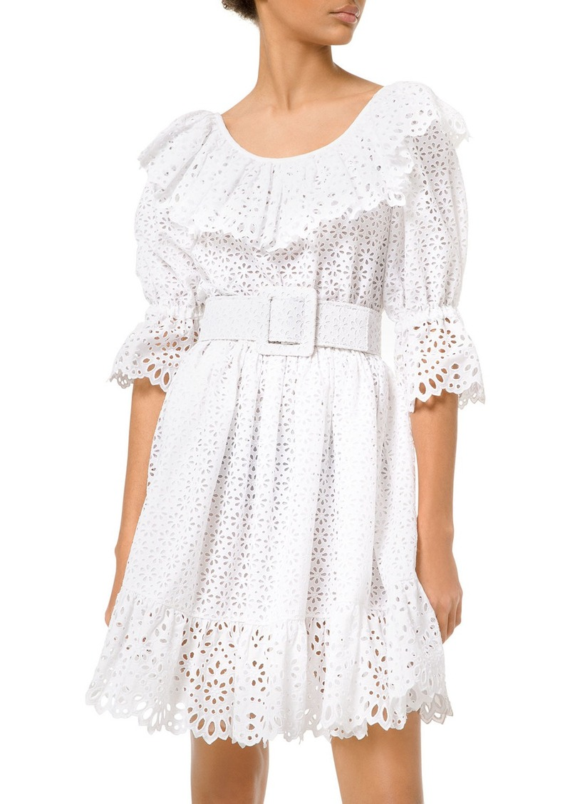 Michael Kors Eyelet-Embroidered Long-Sleeve Dirndle Dress