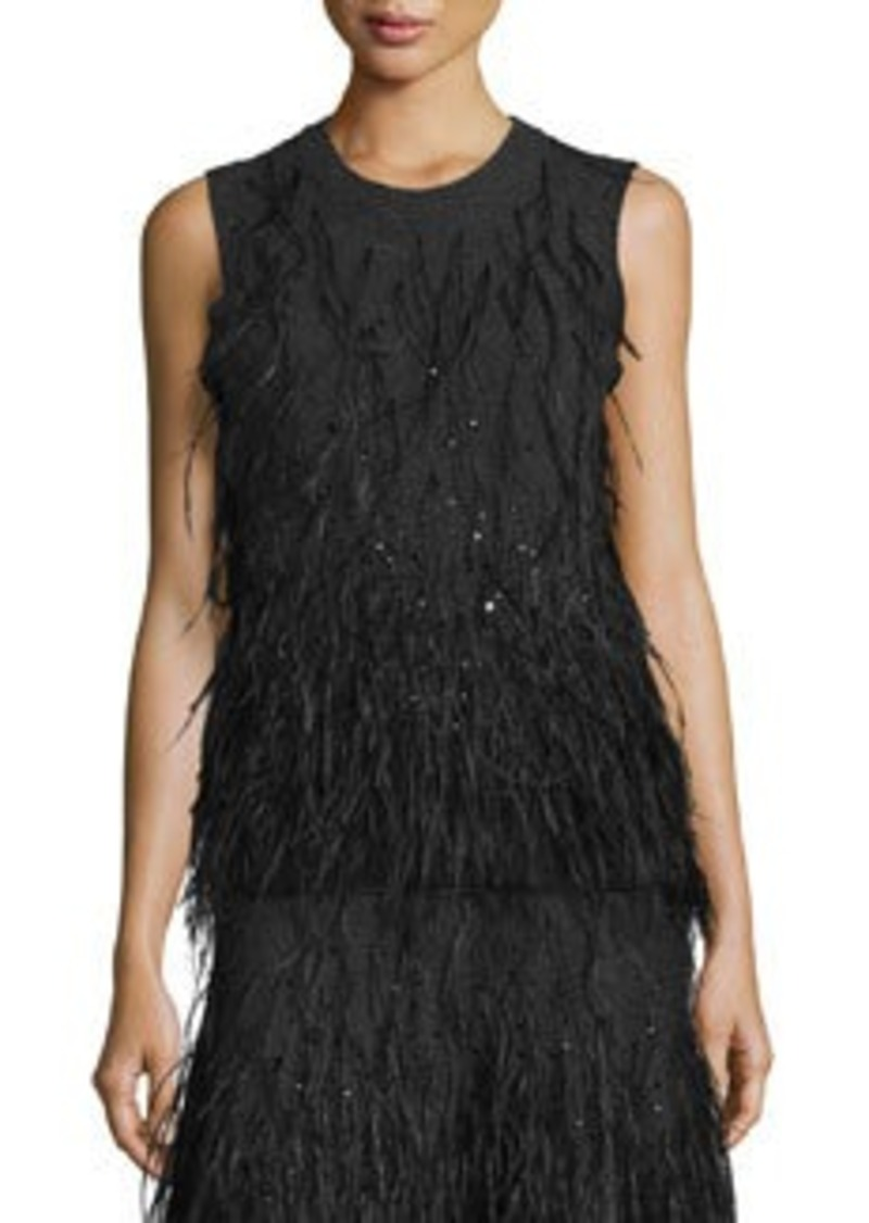 Michael Kors Feather-Embellished Cashmere Shell