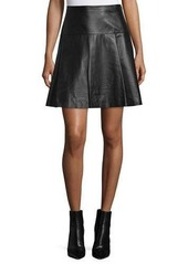Michael Kors Flared Leather Mini Skirt