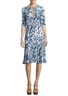 Michael Kors Floral Bias-Cut Keyhole Dress