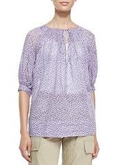 Michael Kors Floral Drop-Shoulder Cotton Blouse