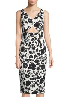 Michael Kors Collection Floral Matelassé Cutout Sheath Dress