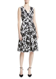 Michael Kors Collection Floral-Print Box-Pleated Fit-And-Flare Dress