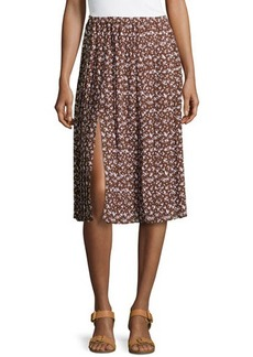 Michael Kors Floral-Print Georgette Pleated Skirt