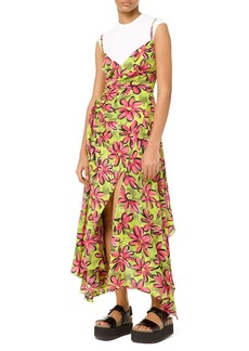 Michael Kors Floral Silk Asymmetric Wrap Dress