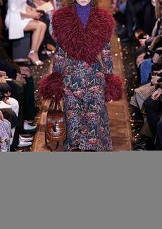 Michael Kors Floral Tapestry Feather-Embellished Princess Coat