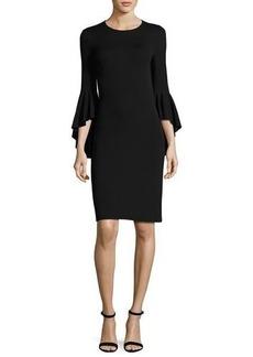 Michael Kors Flounce-Sleeve Matte Jersey Dress