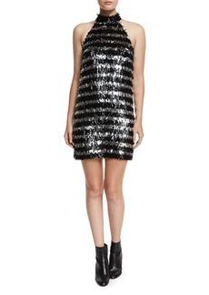 Michael Kors Fringe Striped Halter Mini Dress
