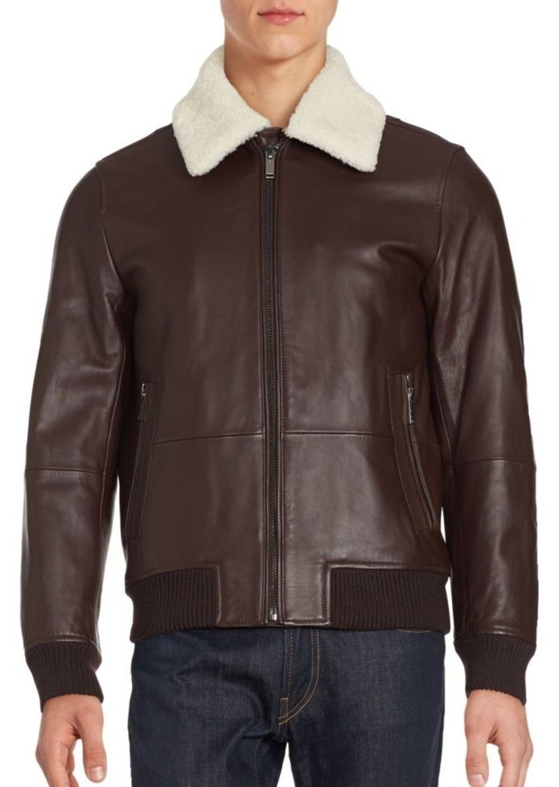 Michael Kors Michael Kors Lamb Wool-Lined Leather Bomber Jacket ...