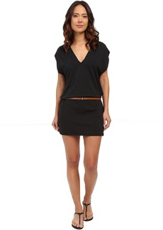 Michael Kors Garden Solids Draped V-Neck w/ Belt Cover-Up