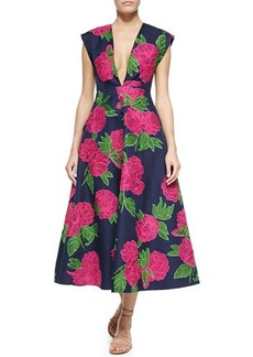 Michael Kors Geranium-Print Deep V-Neck Back-Pleated Dress
