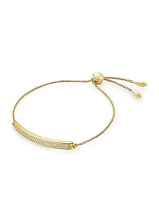 Michael Kors Goldplated Sterling Silver and Cubic Zirconia Pave Plaque Slider Bracelet