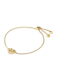 Michael Kors Goldplated Sterling Silver Heart Logo Slider Bracelet