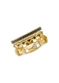 Michael Kors Goldplated Sterling Silver Three Layer Mercer Ring