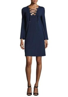 Michael Kors Collection Grommet Lace-Up Long-Sleeve Tunic Dress