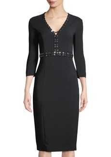 Michael Kors Collection Grommet-Trimmed Long-Sleeve Dress