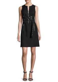Michael Kors Grommet Wrap-Belt Shift Dress