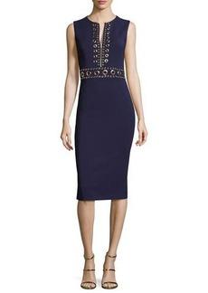 Michael Kors Grommet Zip-Front Sheath Dress