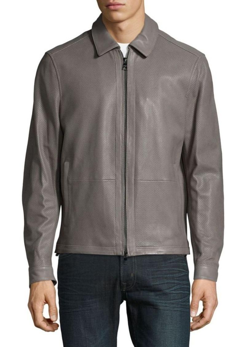 4b27ad347198 Michael Kors Michael Kors Harrington Perforated Leather Jacket ...