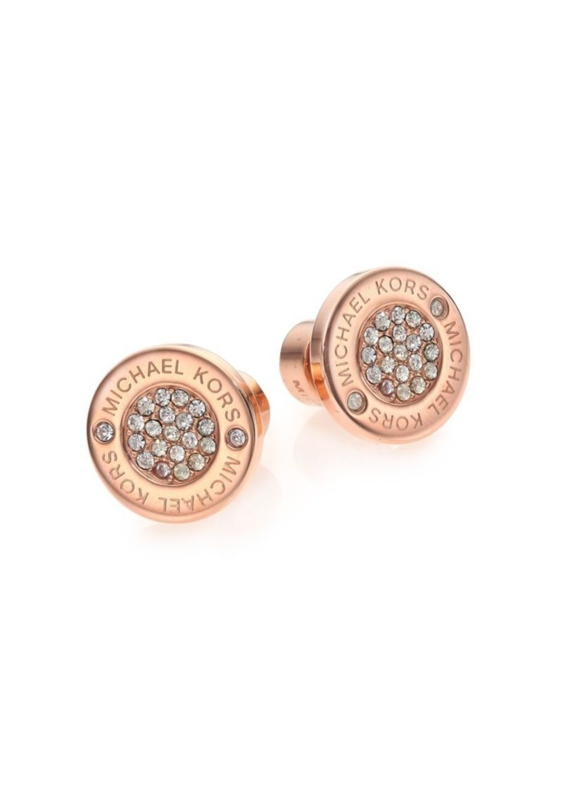 Heritage Plaque Pavé Logo Stud Earrings Rose Goldtone Michael Kors