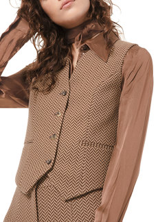Michael Kors Herringbone Pressed Wool Vest