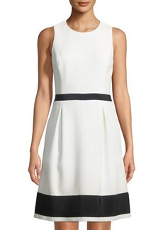 Michael Kors Collection Jackie Grosgrain-Trimmed Sleeveless Dress