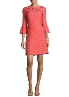 Michael Kors Jeweled Bell-Sleeve Tweed Dress
