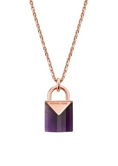Michael Kors Kors Color Mercer Amethyst Padlock Pendant Necklace