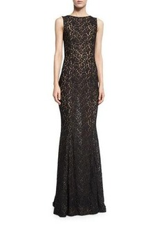 Michael Kors Collection Lace Boat-Neck Sleeveless Gown