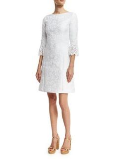 Michael Kors Lace-Cuff Jacquard Shift Dress