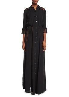 Michael Kors Lace-Inset Button-Front Gown