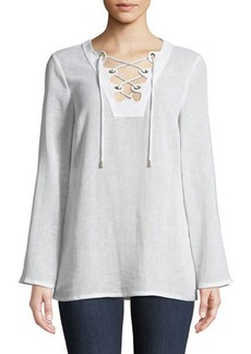 Michael Kors Collection Lace-Up Linen Tunic