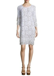 Michael Kors Layered-Hem Lace Shift Dress