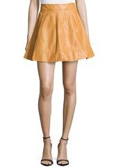 Michael Kors Leather A-Line Skirt