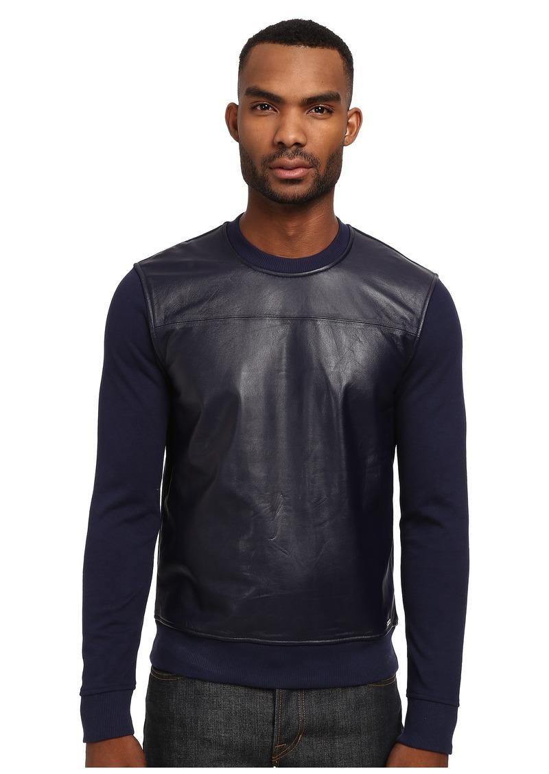 Michael Kors Leather Front Crew Sweatshirt