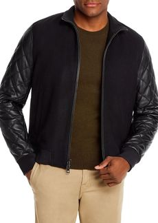 Michael Kors Leather-Sleeve Bomber Jacket