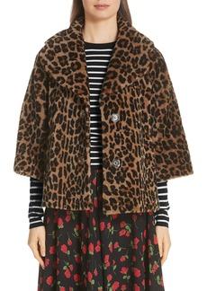 eacbd475d1bd Michael Kors Michael Kors Leopard Print Crop Sleeve Genuine Shearling Coat    Outerwear