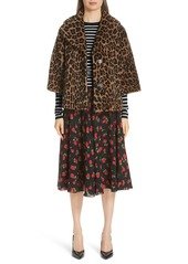 f4e5125ba2d5 ... Michael Kors Leopard Print Crop Sleeve Genuine Shearling Coat